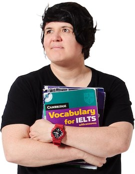 My IELTS Classroom's illustrious leader, Shelly, looking proud and determined, clutching her school books