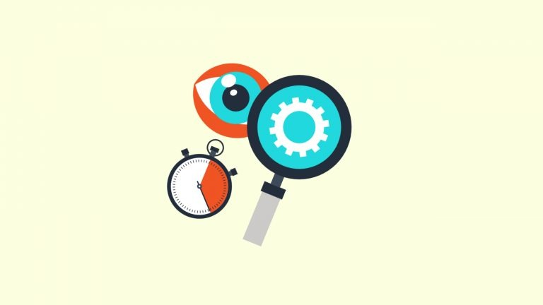 An image of an eye looks though a magnifying glass. Below the eye there is a stop watch. The photo symbolises how you have to add details in IELTS Speaking Part 2 in order to be able to speak or 2 minutes.