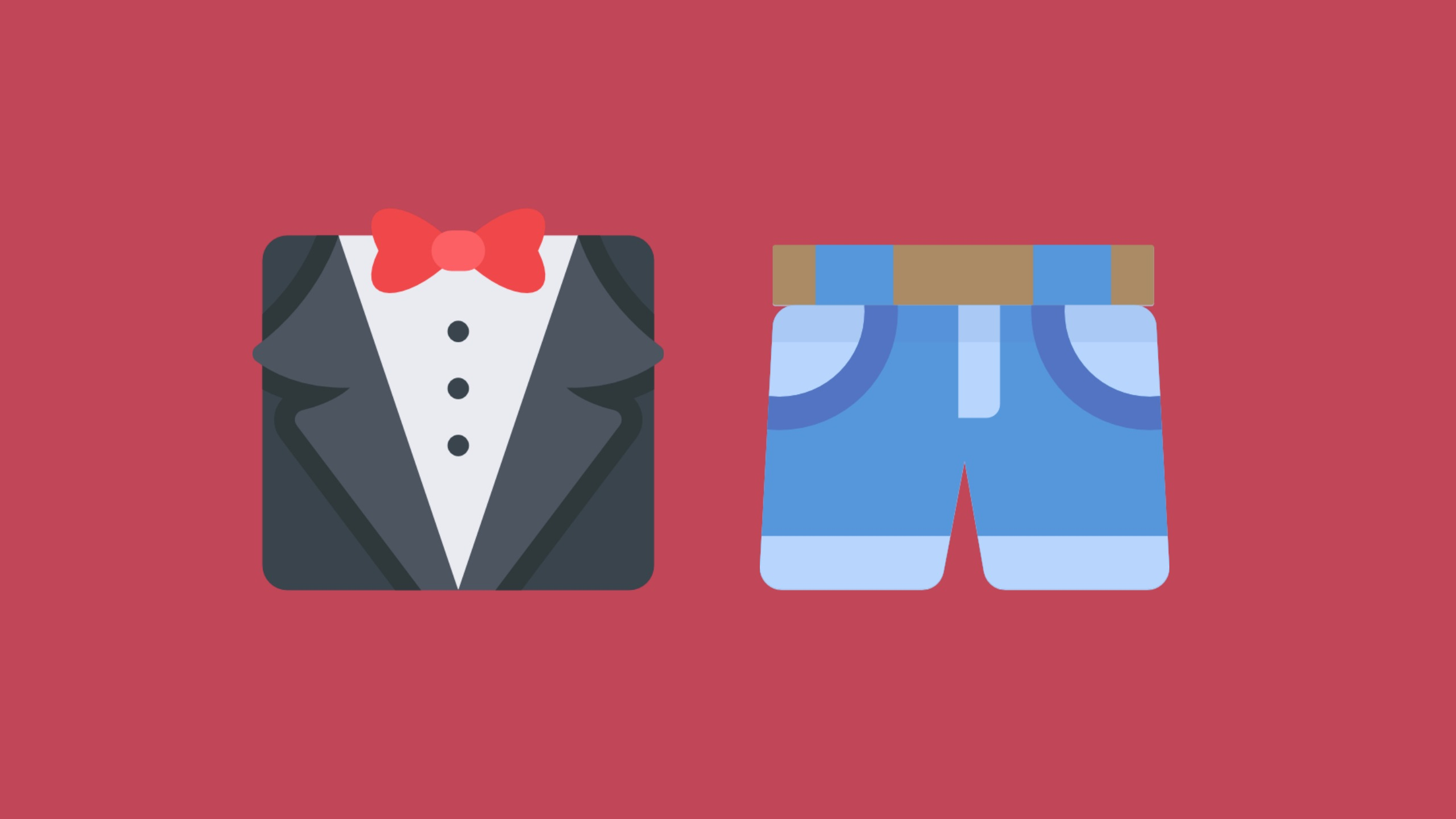 An image of a tuxedo and a pair of jeans sit side-by-side on a red background to symbolise formal and informal letters