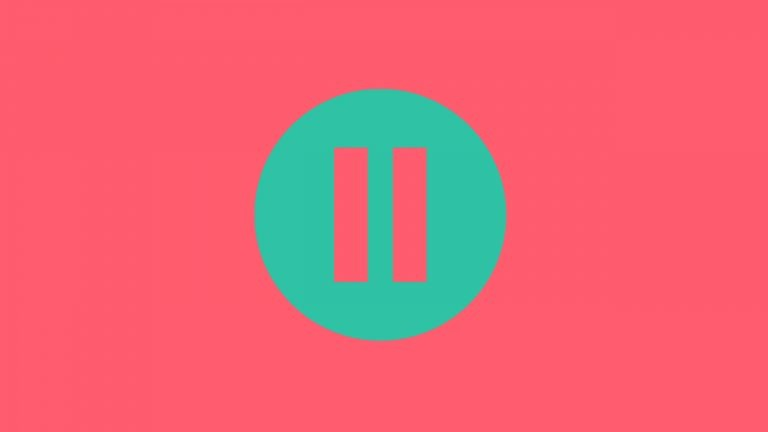 A turquoise pause button sits on a bright pink background to symbolise that in the IELTS speaking exam you should try to paraphrase rather than pause.