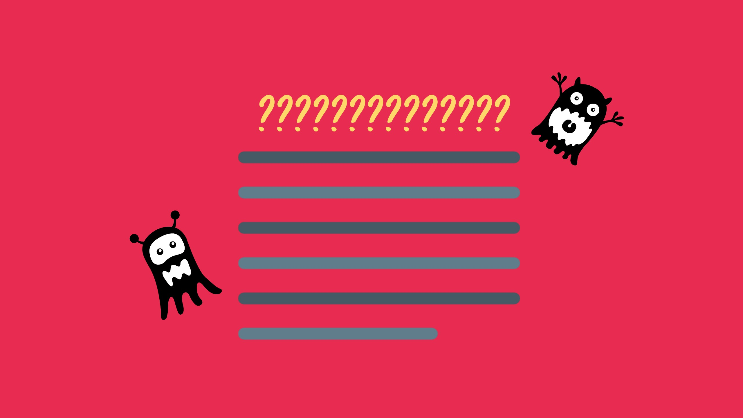 Black and grey lines to denote a paragraph sit on a red background. A row of question marks stand above to show how most students find it difficult to complete IELTS Heading Match Questions. Two small gremlins sit either side of the paragraph to symbolise the difficulty of the task