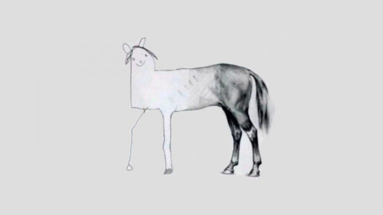 A beautifully half-sketched horse is completed with a rough outline of a head. The picture is used to symbolise what to do if you run out of time in the IELTS writing exam.