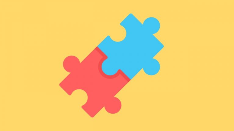 2 red and blue jigsaw puzzle pieces are linked together on a yellow background to signify IELTS Information Match Questions