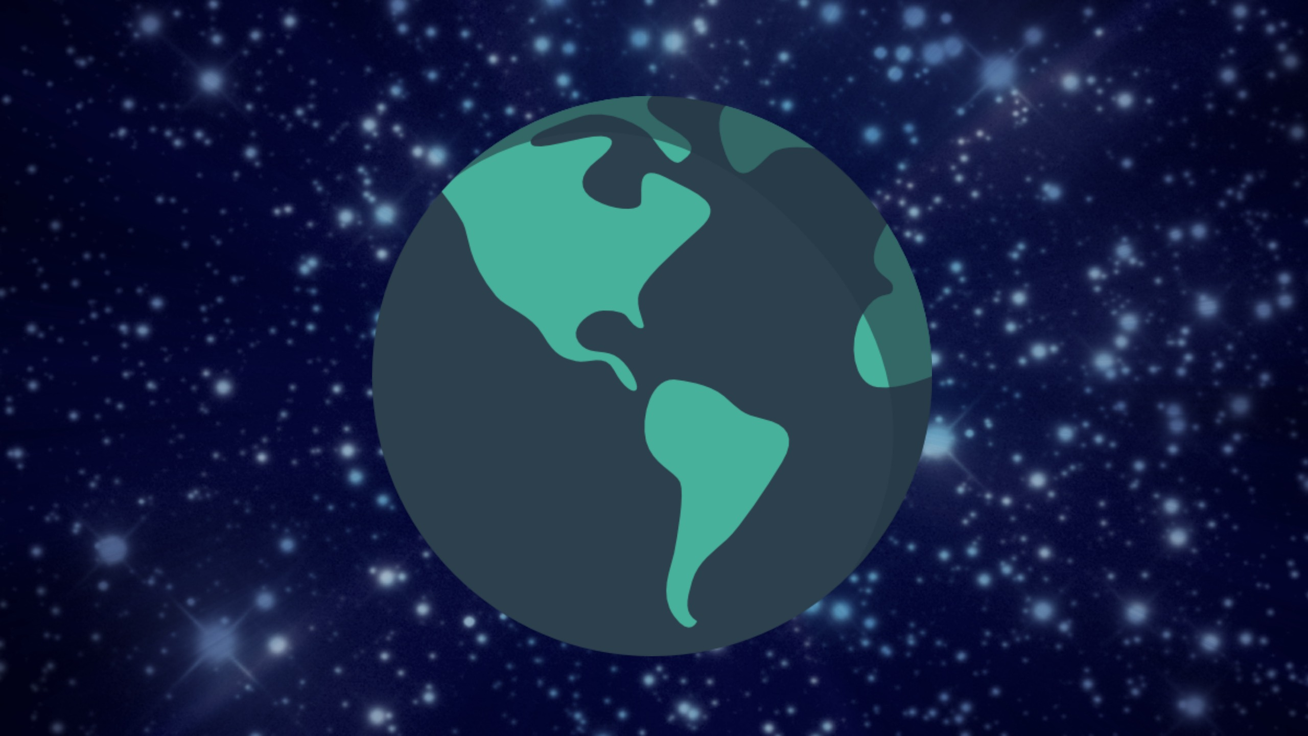 A cartoon of the earth at night sits on a background of stars to represent how it is important to think in general in IELTS Speaking Part 3.