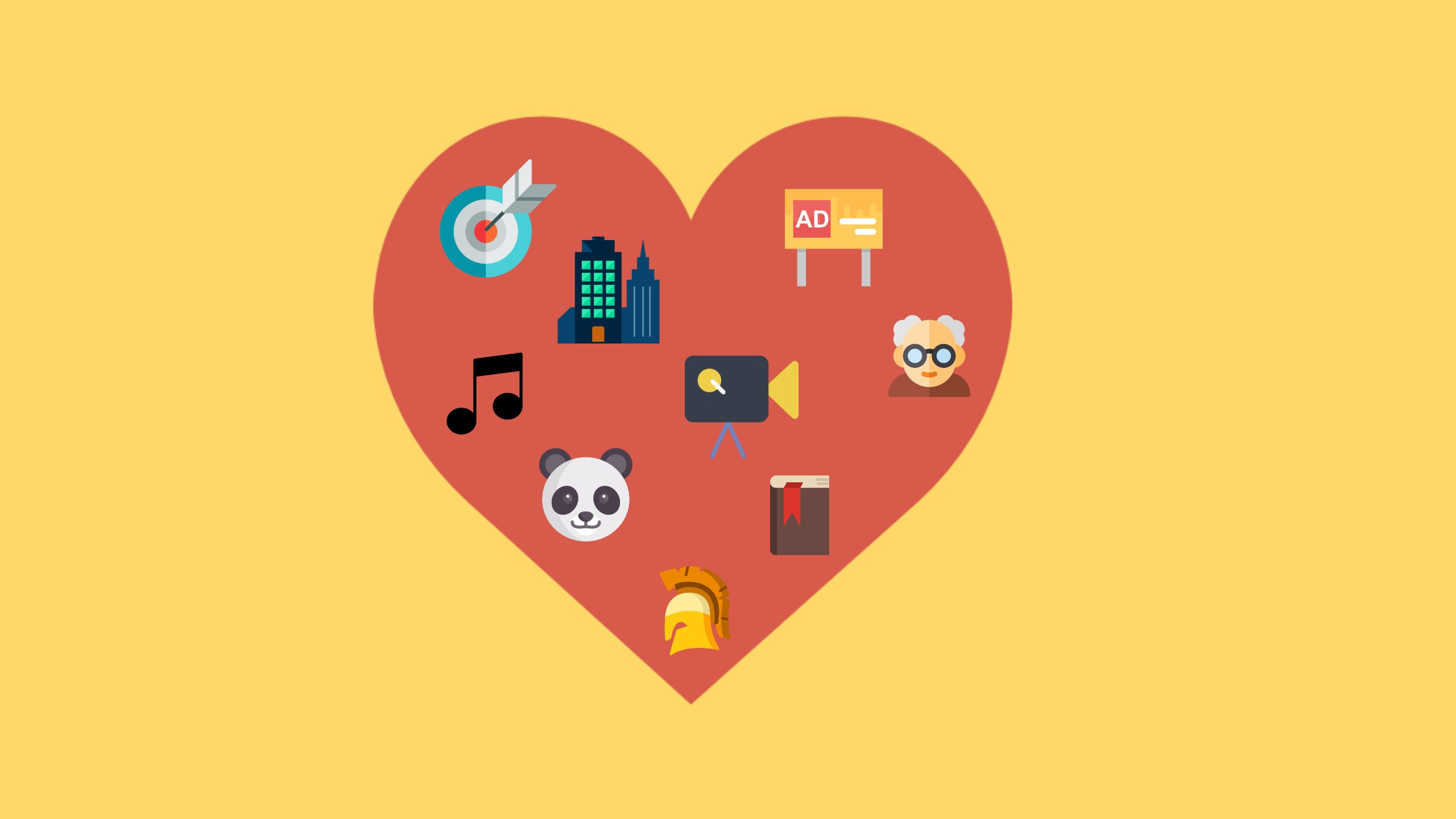 "A red heart filled with smaller icons sits on a yellow background. The images inside the heart represent the common topic that students are asked to discuss in IELTS speaking Part 2. In particular, questions that start with the expression ""Describe your favourite""."