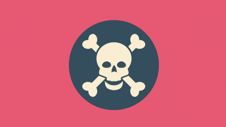 A skull and crossbones inside a dark grey circle sit on a pink background. The images symbolises the dangers of paraphrasing when writing an IELTS essay