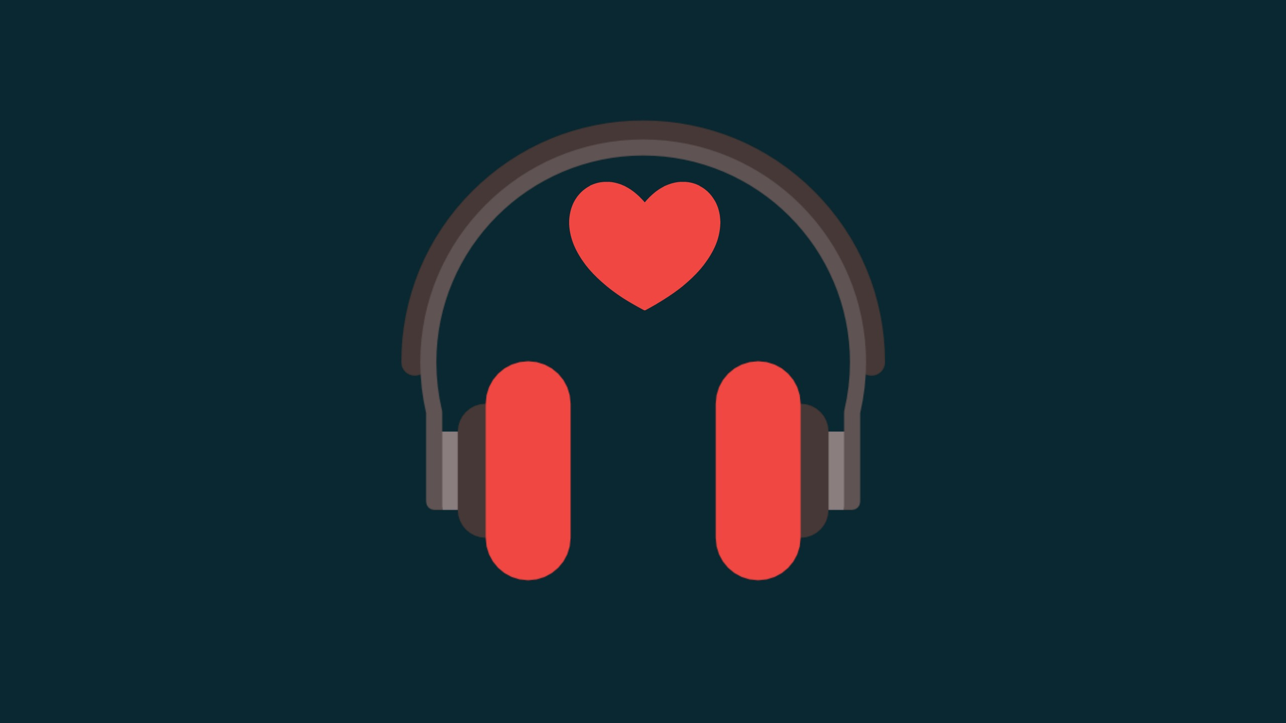 A pair of headphones with red earphones sit on a dark grey background with a heart floating above to show I love to use podcasts to help IELTS students