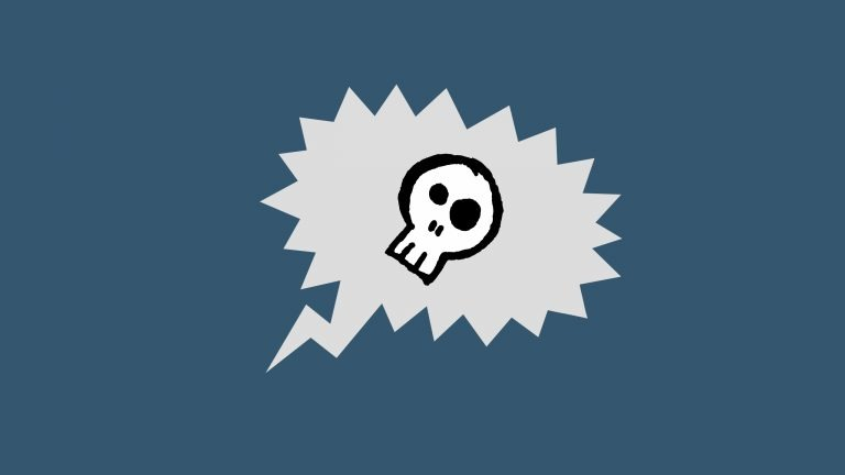 A cartoon skull sits in the middle of an empty speech bubble on a blue background. The illustration represents what it feels like to run our of things to say during IELTS Speaking Part 2.