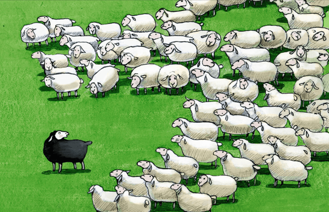 A lone black sheep looks back at a flock of what sheep. The picture symbolises over-generalising, which is a problem for many IELTS students when they write.
