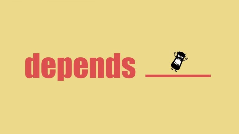 The word depends sits next to a blank space to indicate what dependent prepositions are