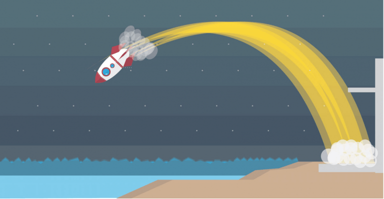 A rocket ship that has taken off is falling back to the ground. The symbolises how it felt to have lost motivation for IELTS