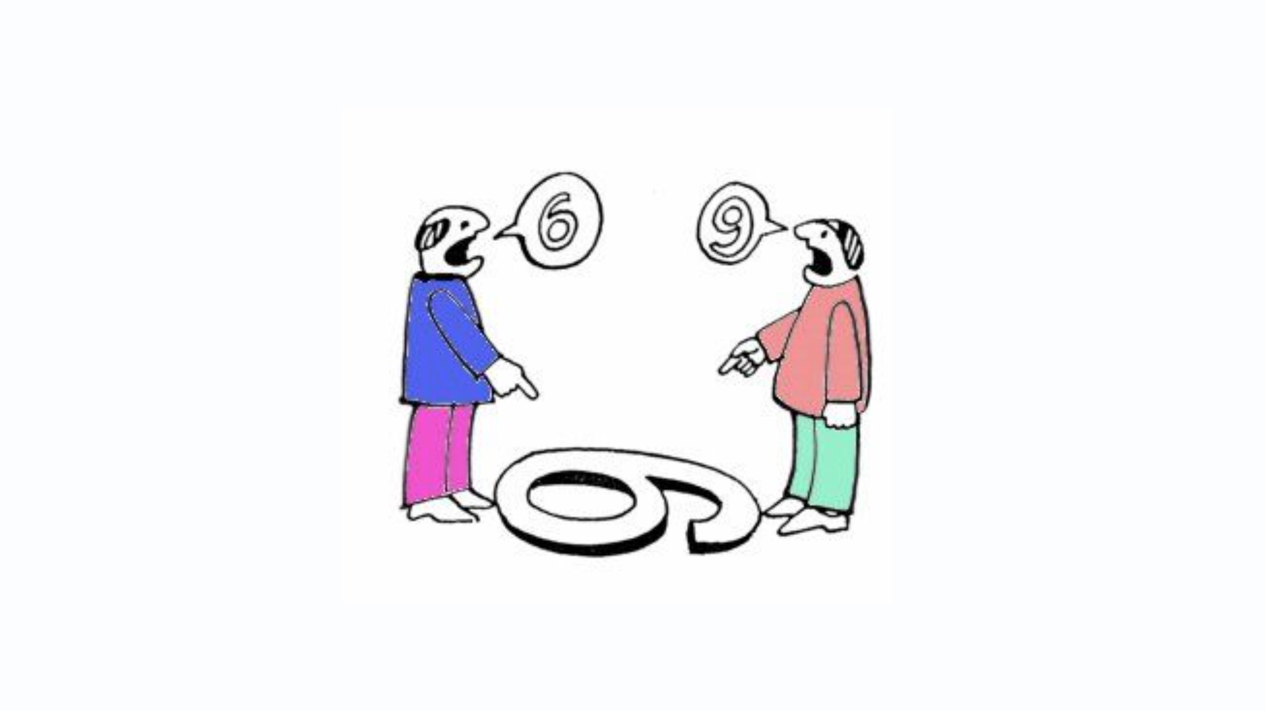 "Two men look at a number one the floor. The man on the left says ""6"" as this is what it looks like to him. The man on the right says ""9"" as this is what the same number looks like to him. This picture signifies how different examiners can give different scores in the IELTS speaking and writing exam, and will help students understand if they should got for an IELTS remark or not"