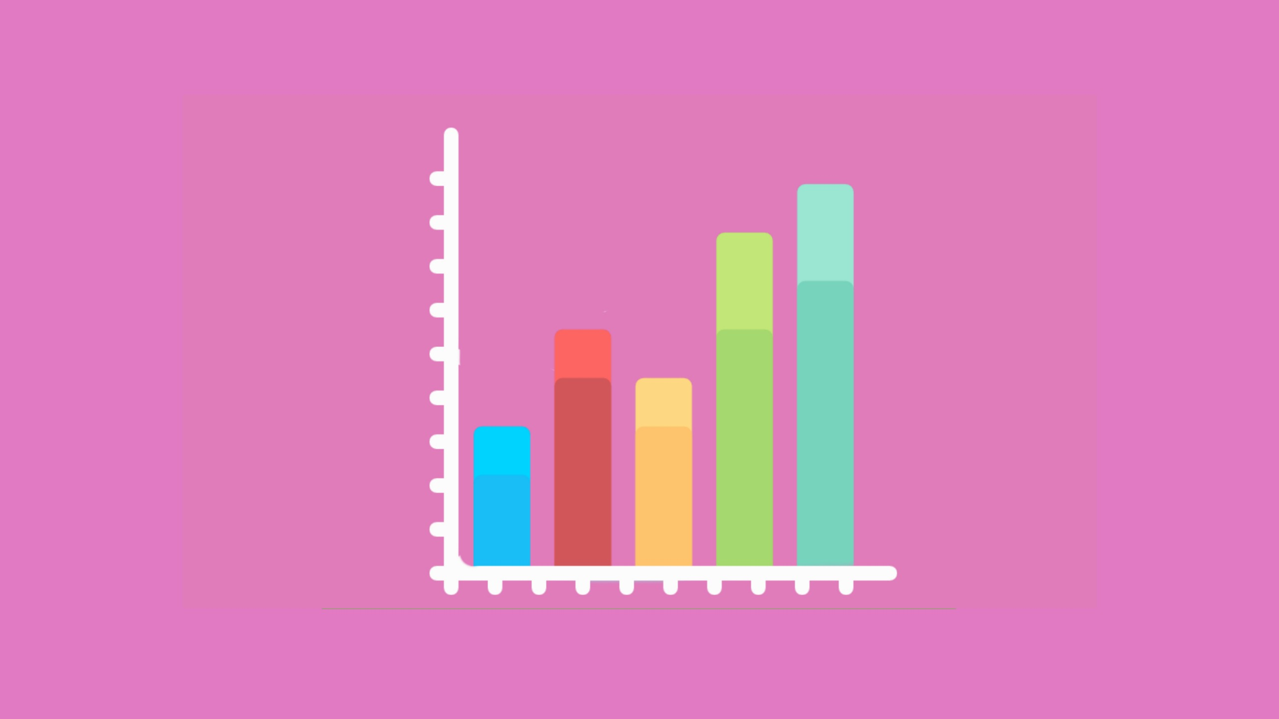 A bar chart sits on a pink background to signify how to find IELTS Change Chart Overview