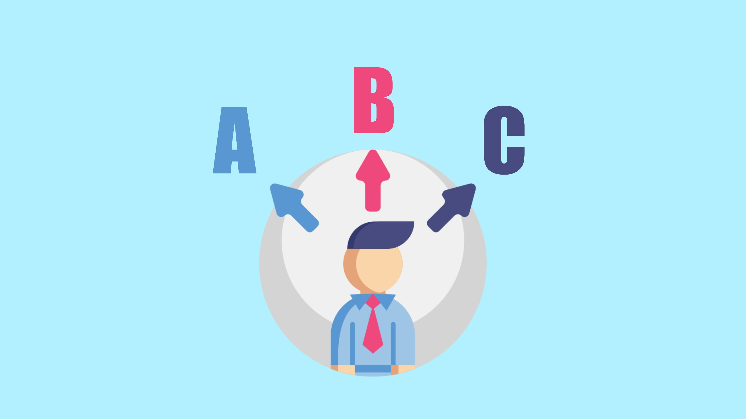 A cartoon image of a man stands under three arrows pointing at the letters A, B and C to represent how students choose answers for IELTS Multiple Choice Questions