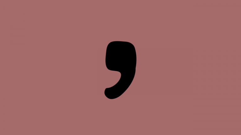 A large comma sits on a pink background to show the importance of commas in IELTS punctuation