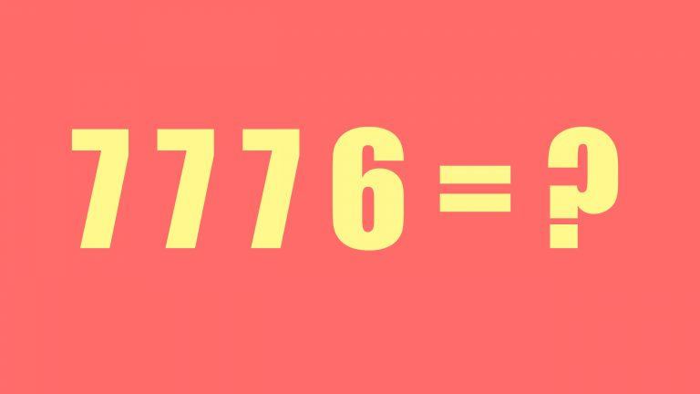 A yellow 7776 and an equals sign sit on a orange background next to a question mark to signify that nobody knows hoe your overall IELTS writing band score is calculated