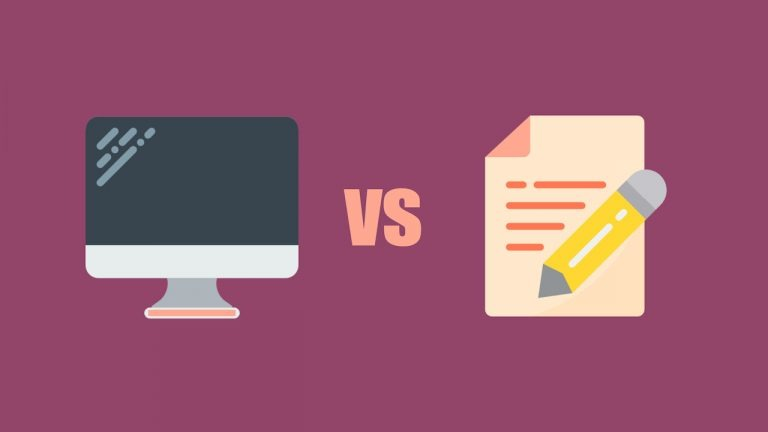 A computer sits on a purple background next to a piece of paper and a pencil. Between them are the letters vs, to signify versus and to show that the blog will compare the IELTS computer-based test and the paper-based test