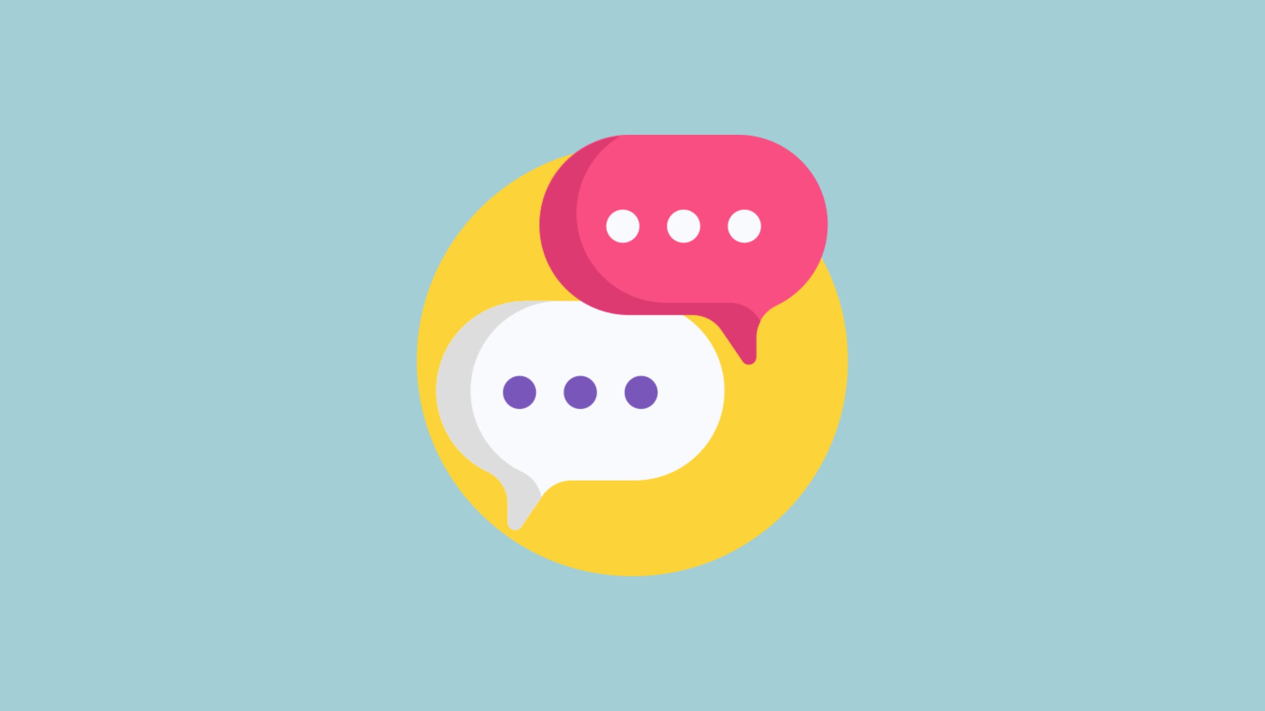A white speech bubble and pink speech bubble sit in a yellow circle sit on a blue background to symbolise the top 5 IELTS speaking tips