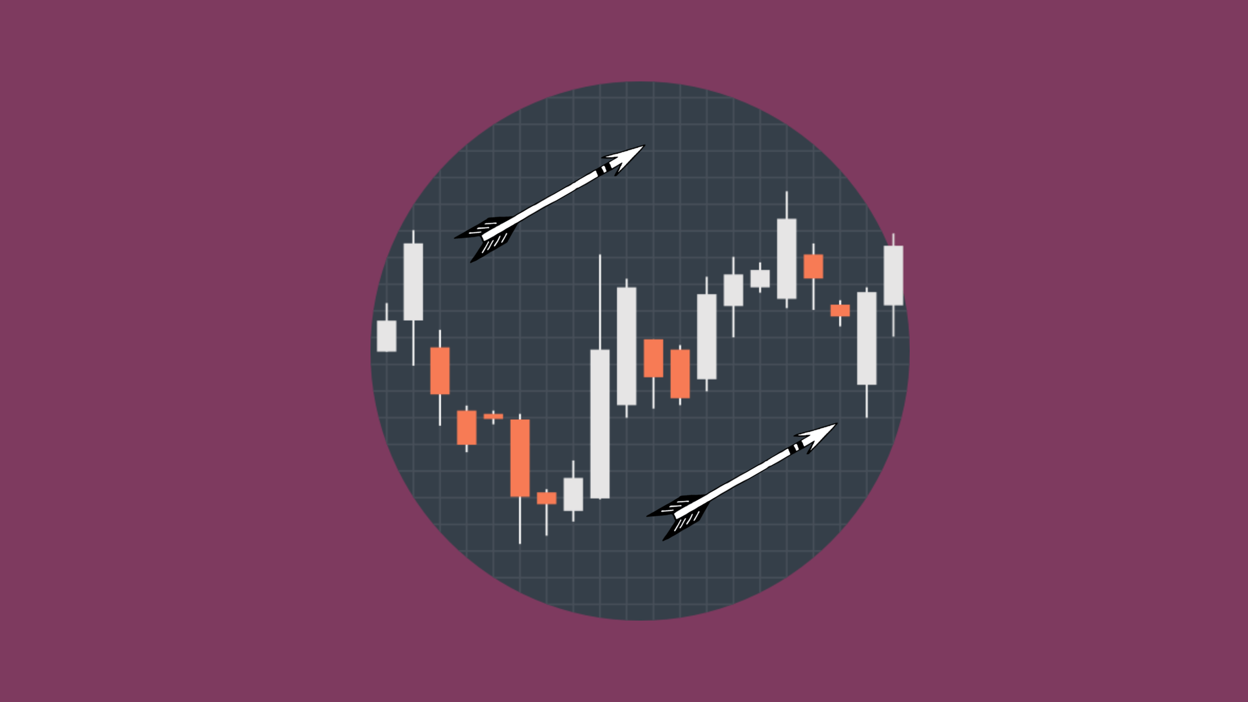 A circular image of a stock market chart sits on a purple background to illustrate that the blog post is about 5 Simple Grammar Tricks to go from 6 to 7 in IELTS writing
