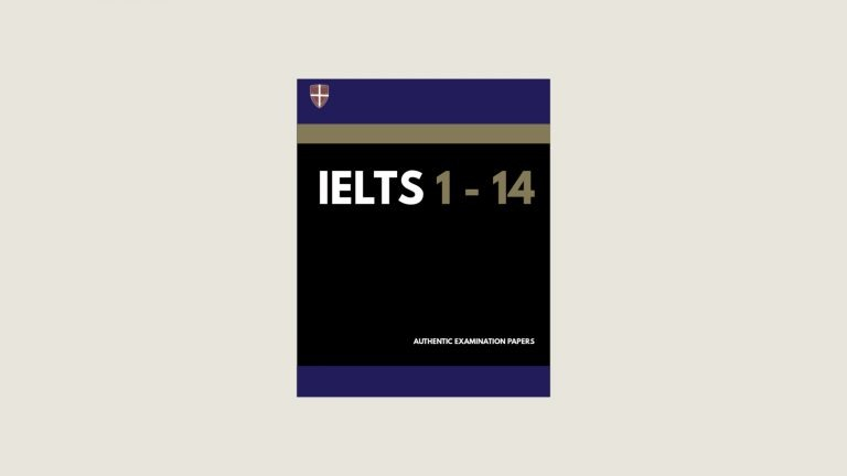 A cartoon version of a Cambridge IELTS books sits on a wide background