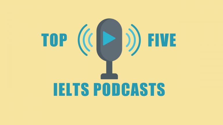 A microphone with a play symbol sits on a yellow background sandwiched with the words top ten to signify that this is a blog about top ten Podcasts for IELTS