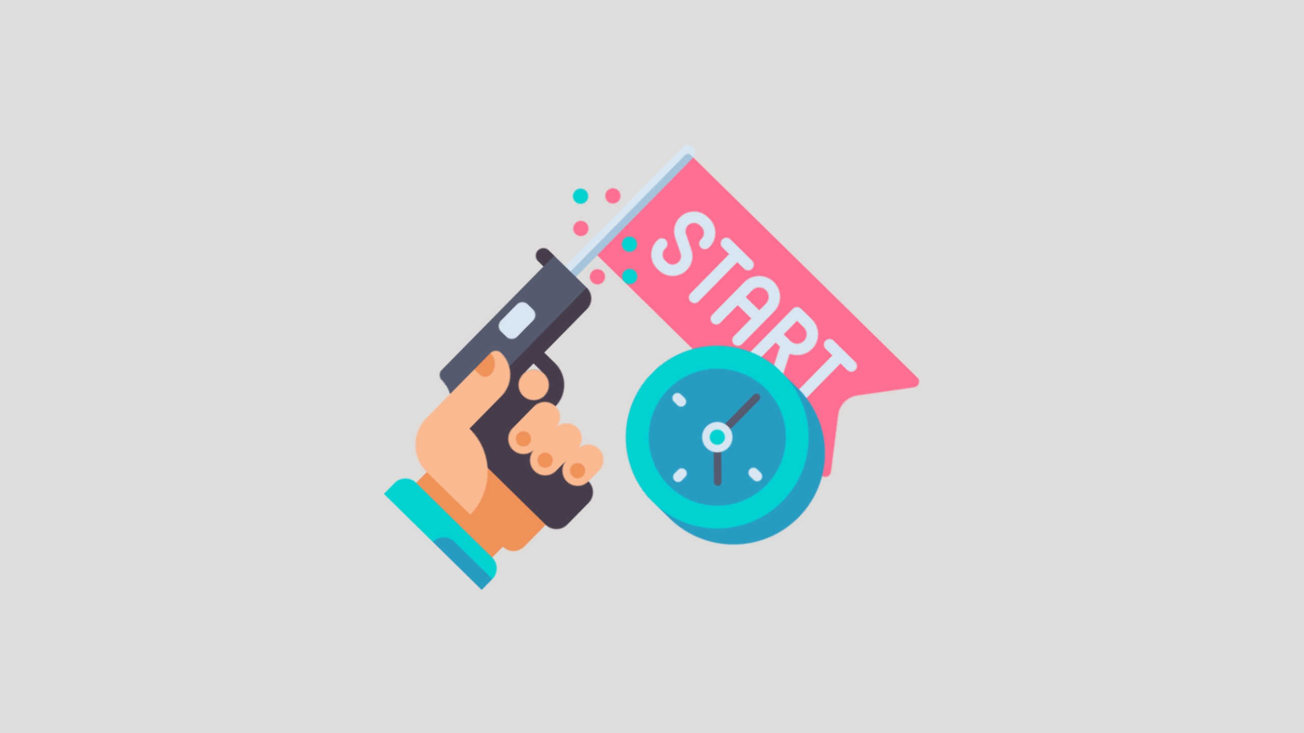 "The cartoon image of a hand with a gun that has the word ""start"" firing from it sits on a grey background to indicate that the blog post explains how to start preparing for IELTS"
