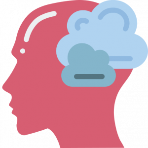The outline of a head with a dream cloud signifies an IELTS cue card about hypothetical situations