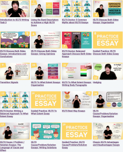 A grid of all the thumbnails in the My IELTS Classroom video course