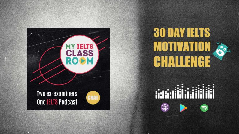 A podcast front cover that says 30 day IELTS motivation challenge