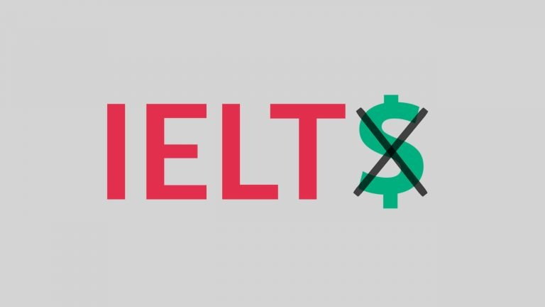 The word IELTS in red sits on a silver background but the final