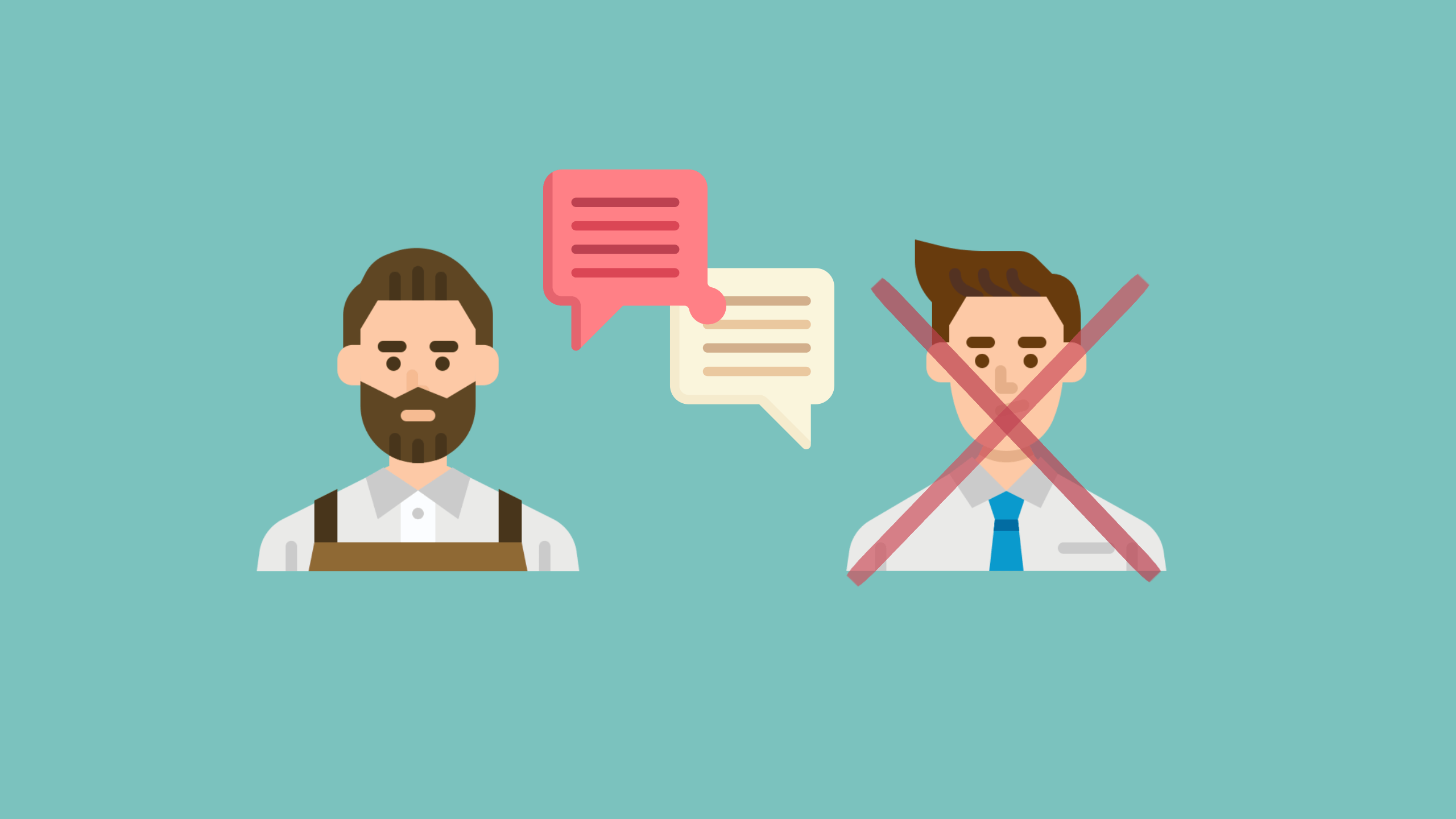 A graphic image of two men speaking but one is crossed out to show that there is no IELTS speaking partner