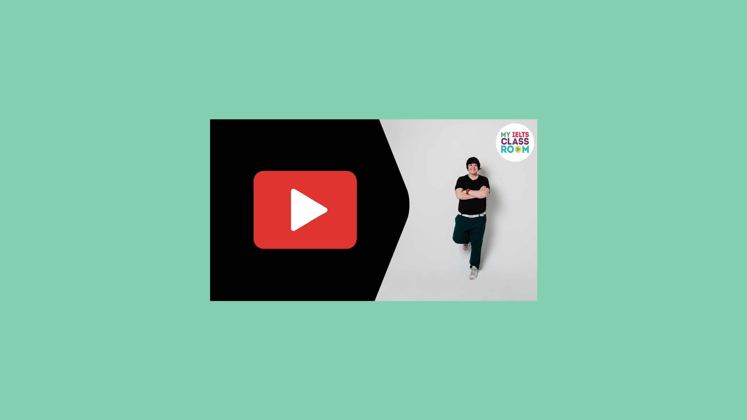 """A thumbnail of the video """"Official instructions for the IELTS computer delivered test"""" sits on a green background"""