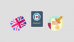 An English flag sits next to a passport and a stamp to indicate the arrival of the new UK health and care visa