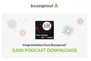 Our podcast cover surrounded by the words Congratulations for 5,000 downloads