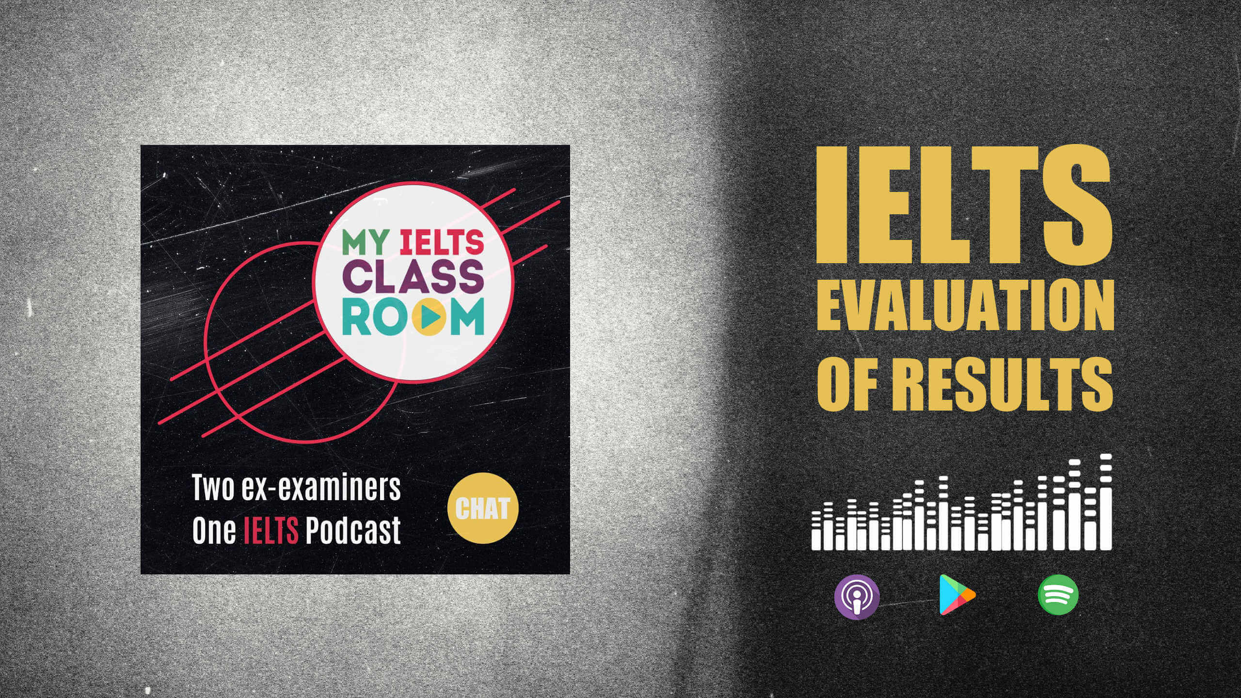 A graphic image of a podcast album cover next to the words IELTS evaluation of results to signify the IELTS EOR