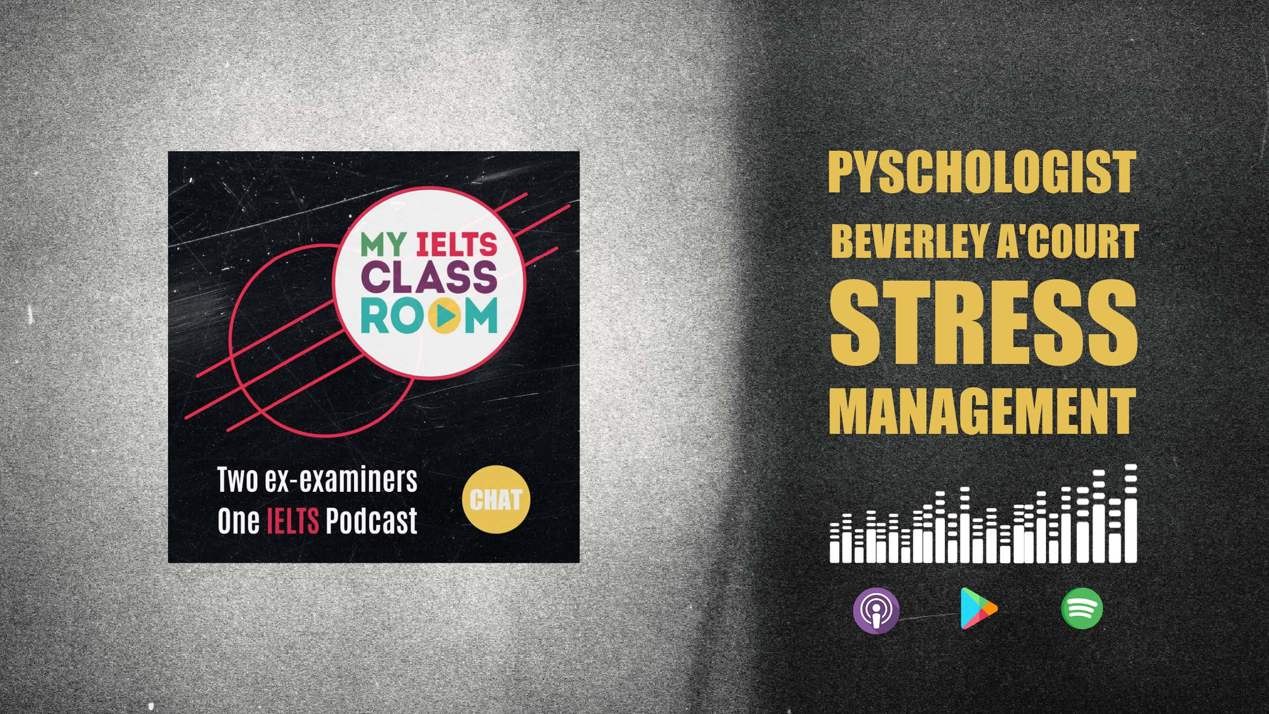 A graphic image of a podcast album cover next to the words Psychologist Beverley A'curt advises on IELTS stress management