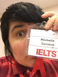 A photo of Shelly Cornick working as an IELTS examiner