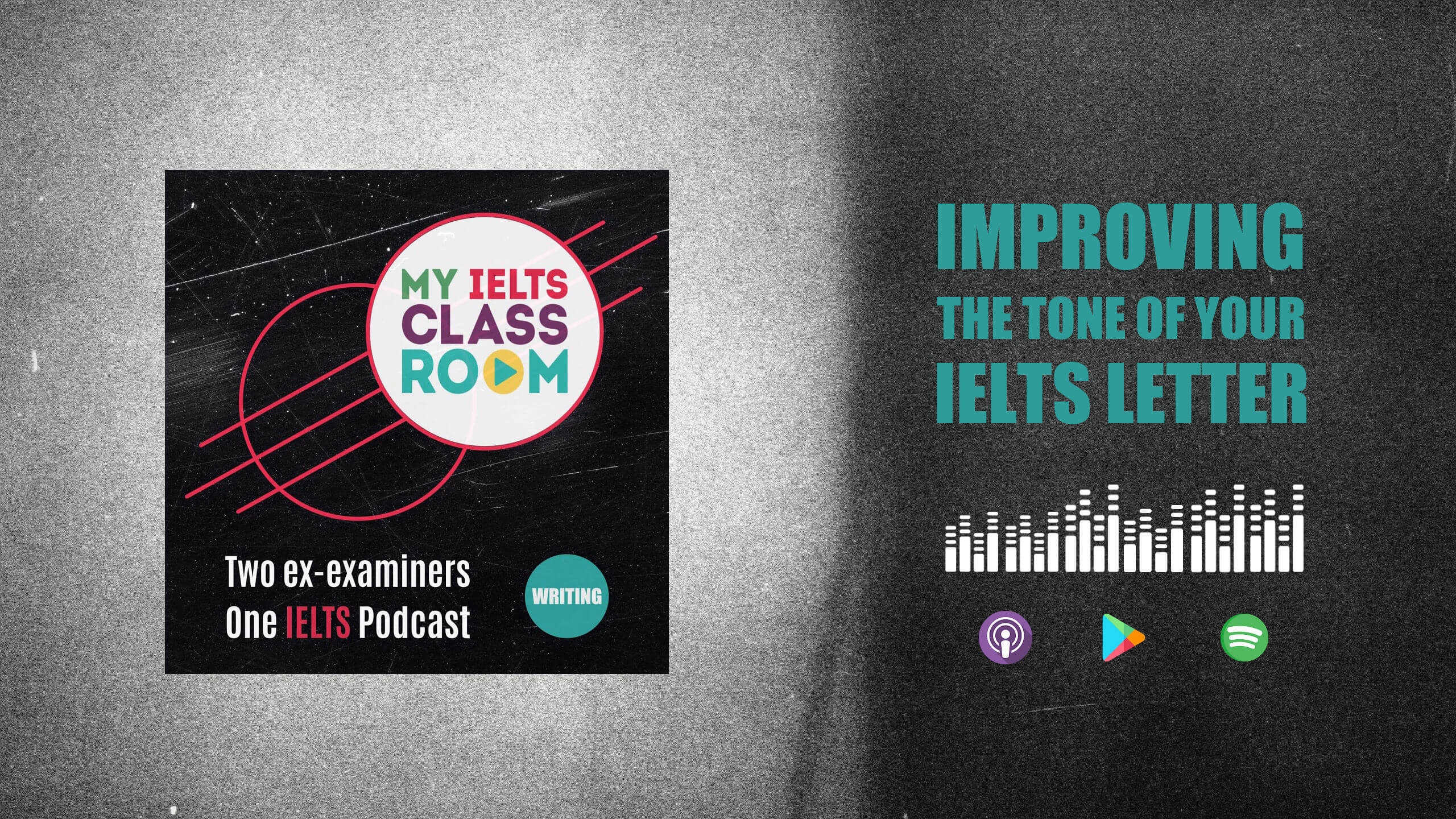 The words Improve your IELTS Letters sit next to the Album cover for the My IELTS Classroom album cover