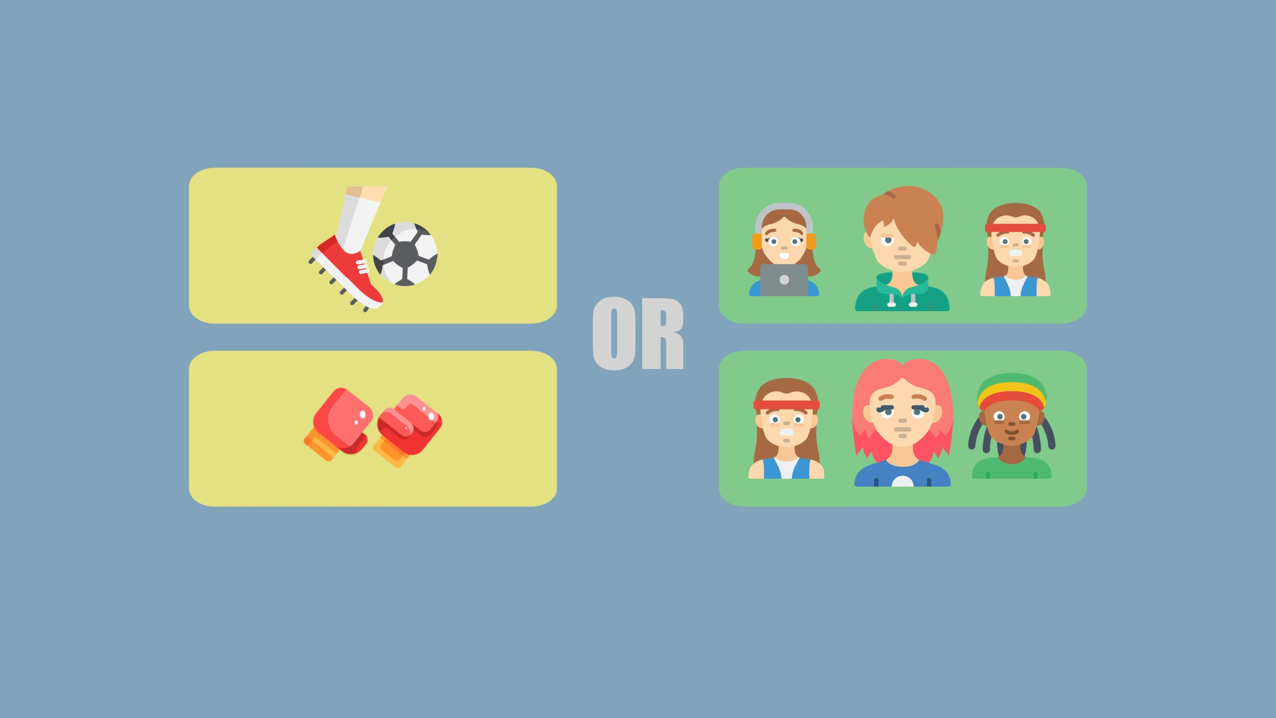 An image of a football and boxing glove on the left, sit next to two groups of people on the right to signify IELTS discuss both sides essays