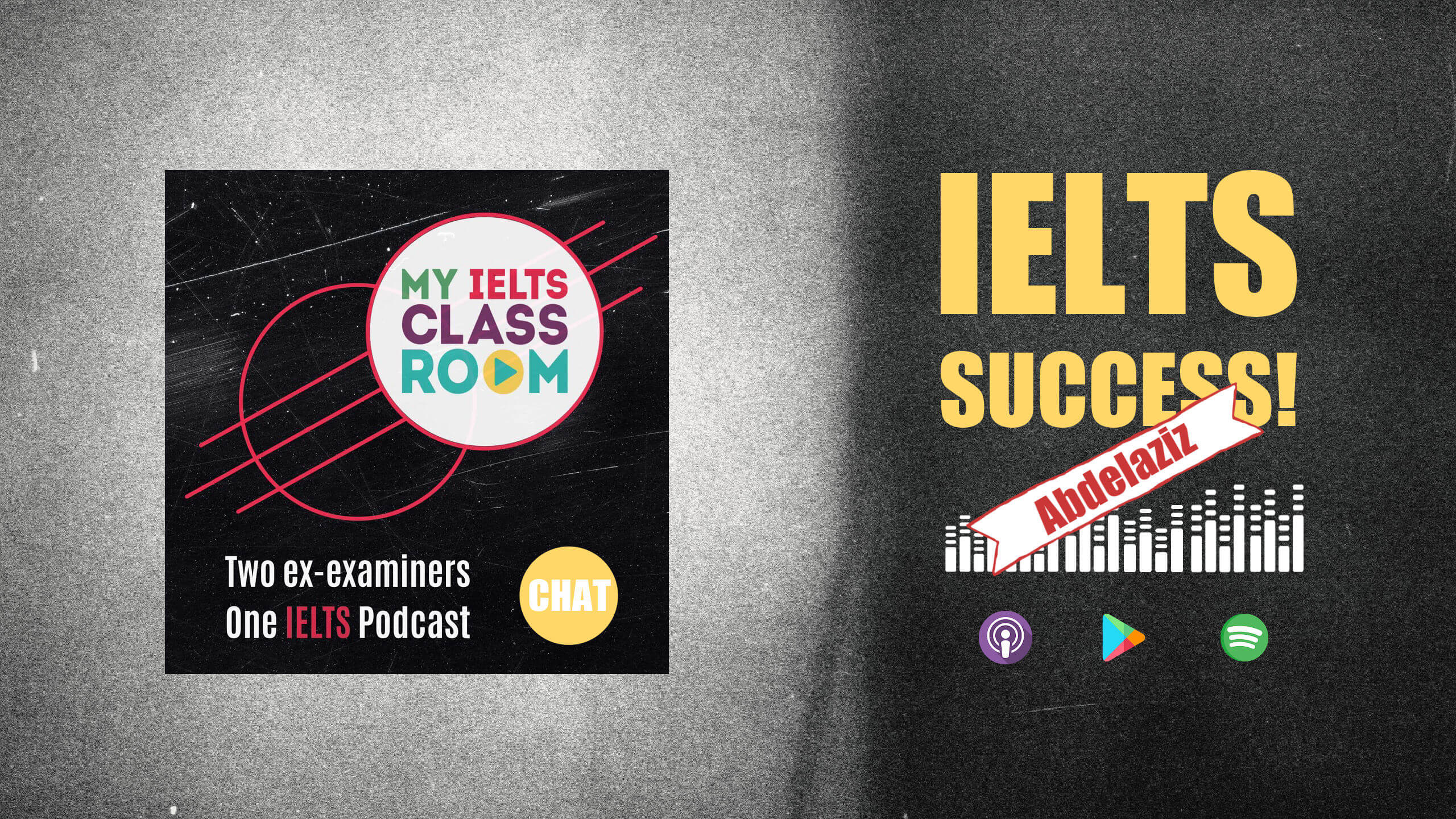 The words IELTS success Canada sit next to the Album cover for the My IELTS Classroom album cover