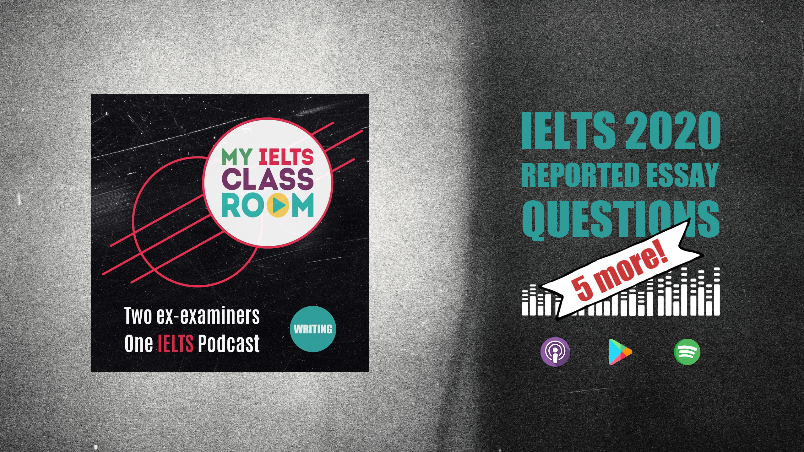 The words IELTS essay topics 2020 sit next to the Album cover for the My IELTS Classroom album cover