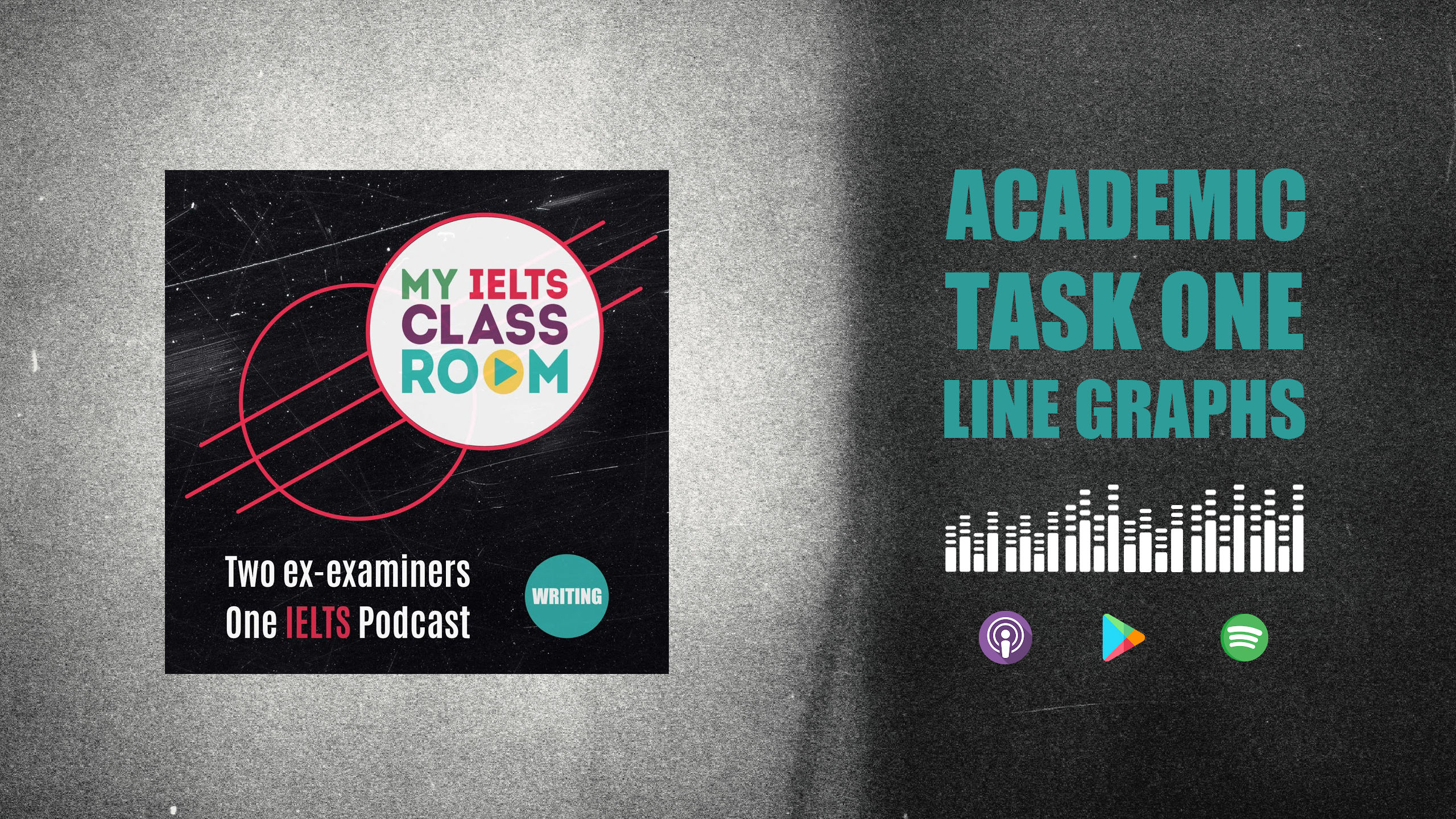 The words IELTS line graph sit next to the Album cover for the My IELTS Classroom album cover