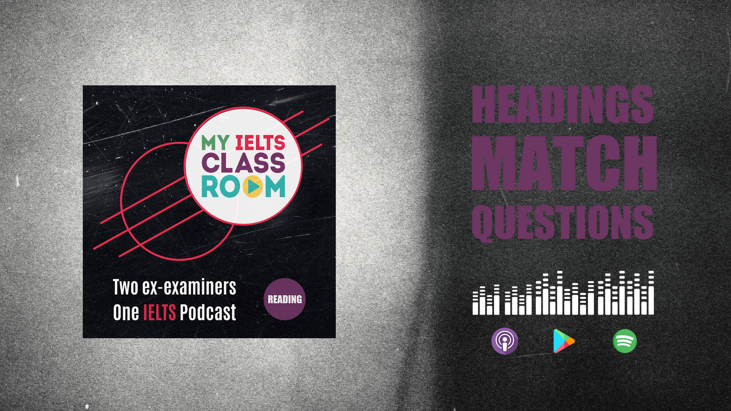 The words IELTS headings matching sit next to the My IELTS Classroom podcast logo