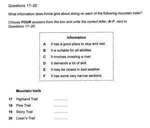 IELTS Listening Matching Questions Practice 1