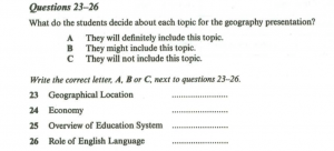 Practice 2: Cambridge Book 7, Test 4, Section 3