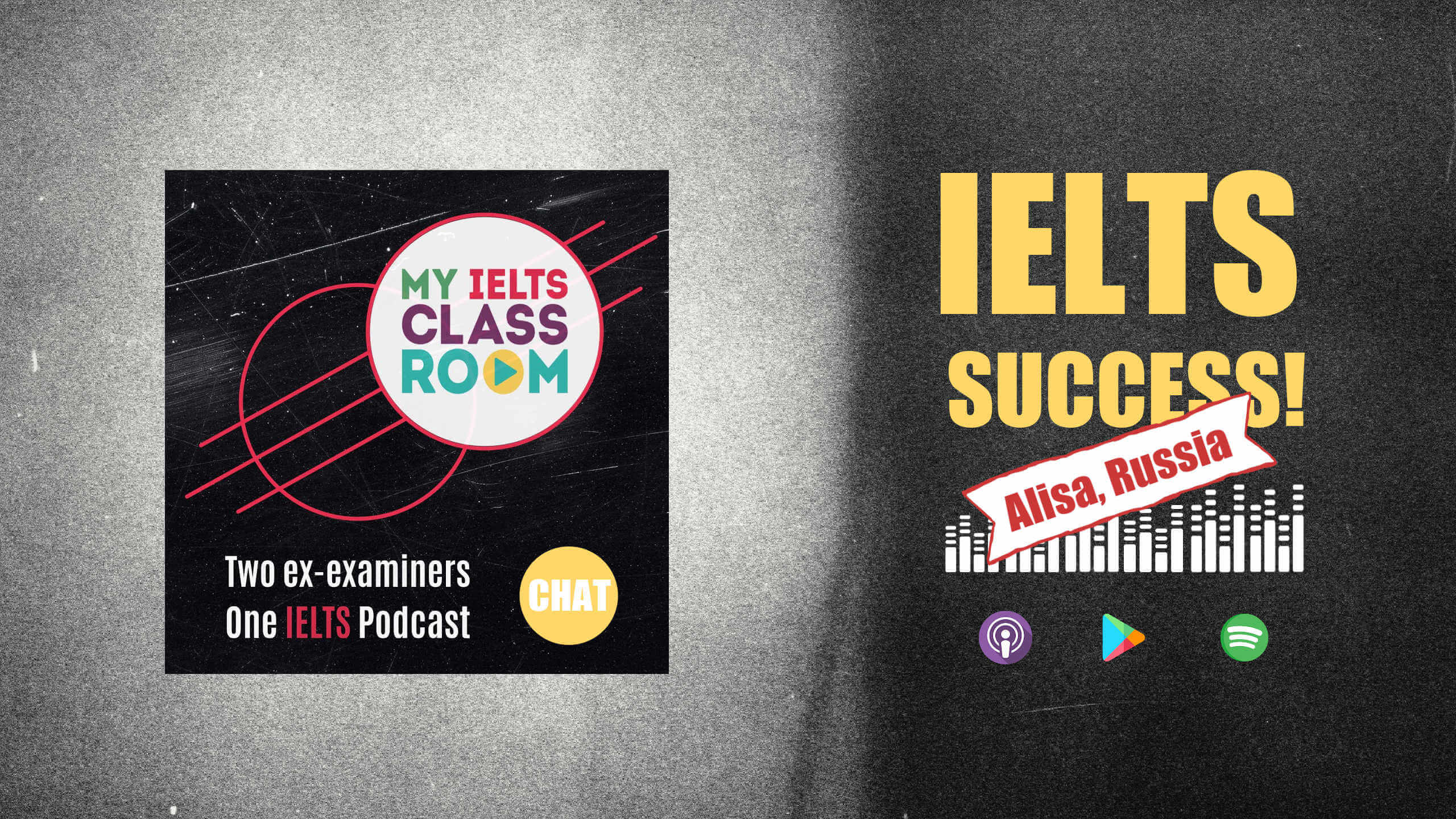 The words IELTS teacher training success sit next to the My IELTS Classroom podcast cover