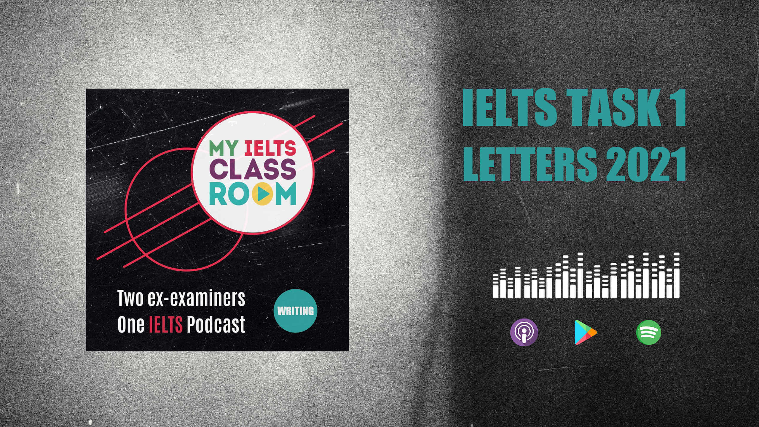 The words IELTS letters 2021 sit next to the podcast cover art