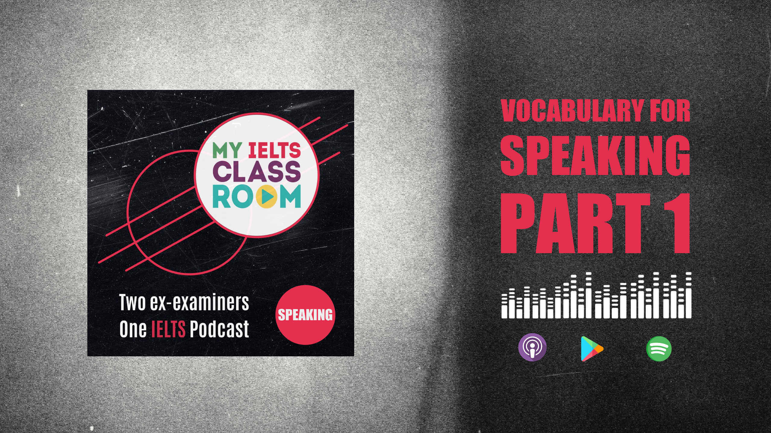 The words IELTS Speaking vocabulary for Part One sit next to the My IELTS Classroom logo