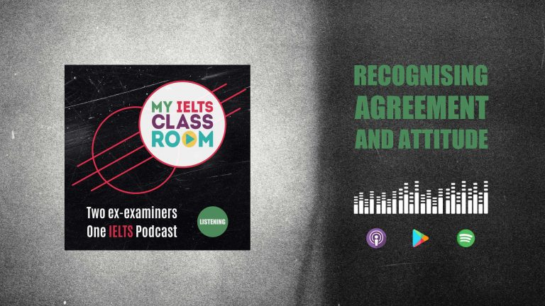 The words IELTS listening skills sit next to the My IELTS Classroom podcast logo