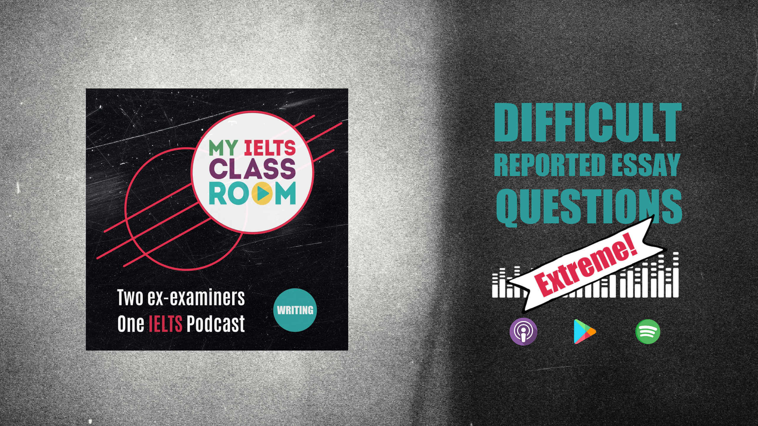 The words difficult IELTS essay questions sit next to the My IELTS Podcast logo